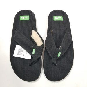 Sanuk Furreal Black Fuzzy Flip Flops Men's Size 11
